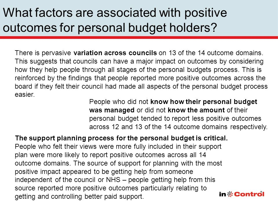 People who did not know how their personal budget was managed or did not know the amount of their personal budget tended to report less positive outcomes across 12 and 13 of the 14 outcome domains respectively.