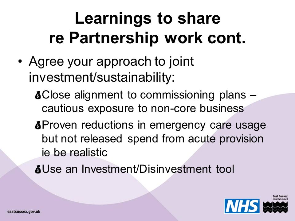 Learnings to share re Partnership work cont.