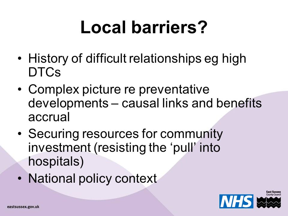 Local barriers.