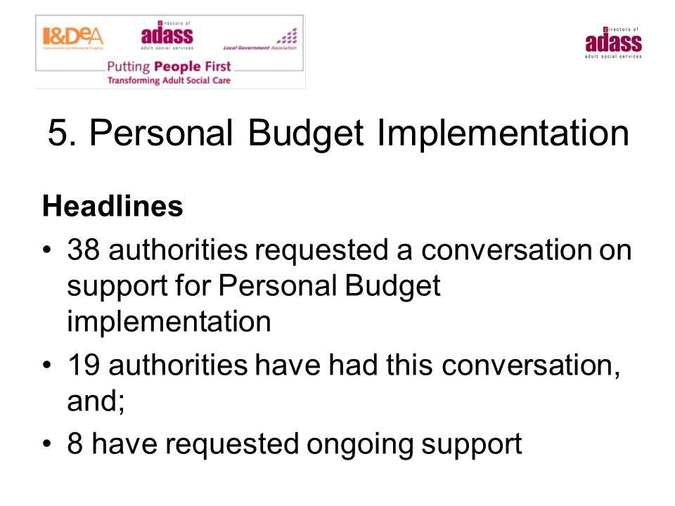 5. Personal Budget Implementation Headlines 38 authorities requested a conversation on support for Personal Budget implementation 19 authorities have