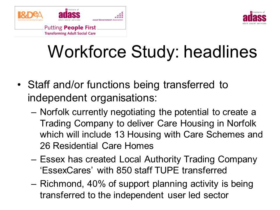 Workforce Study Headlines Were job descriptions reviewed: –Almost every authority reviewed job descriptions and structures as part of their redesign –Coventry created new roles such as an Outcomes Broker –Richmond created new functions in Access Service to broaden the scope and reach of advice and information.