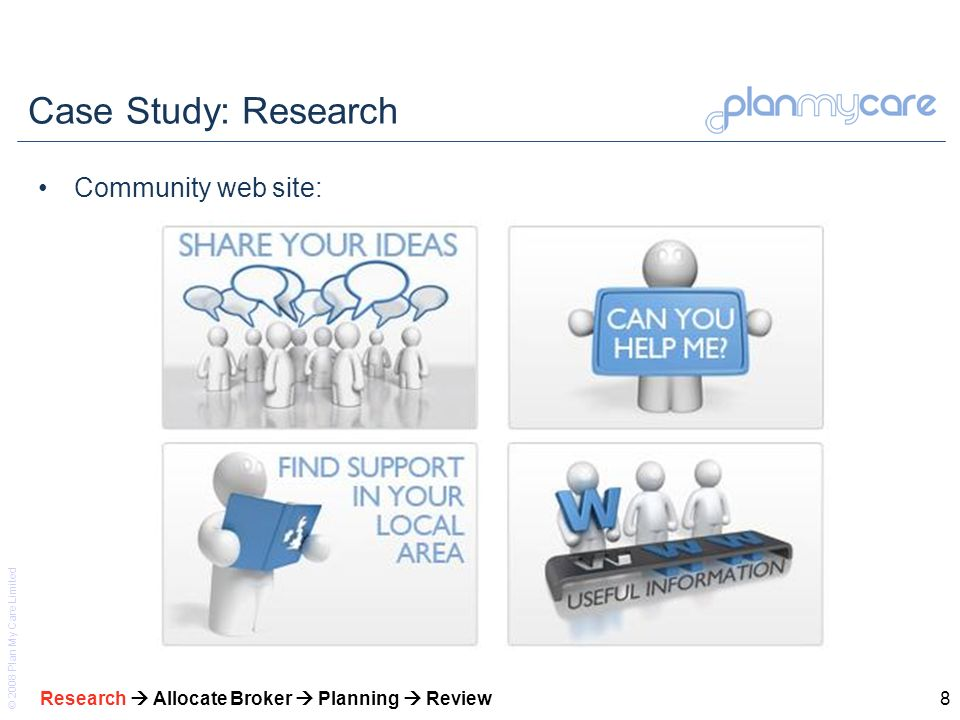 © 2008 Plan My Care Limited 8 Case Study: Research Community web site: Research Allocate Broker Planning Review