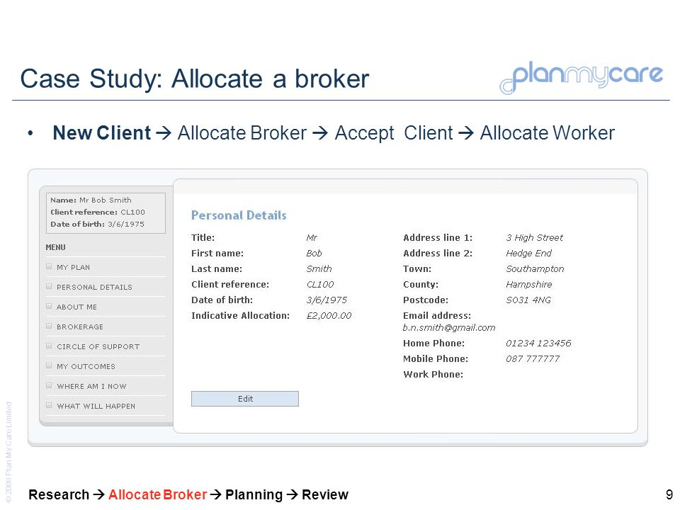 © 2008 Plan My Care Limited 10 Case Study: Allocate a broker New Client Allocate Broker Accept Client Allocate Worker Research Allocate Broker Planning Review