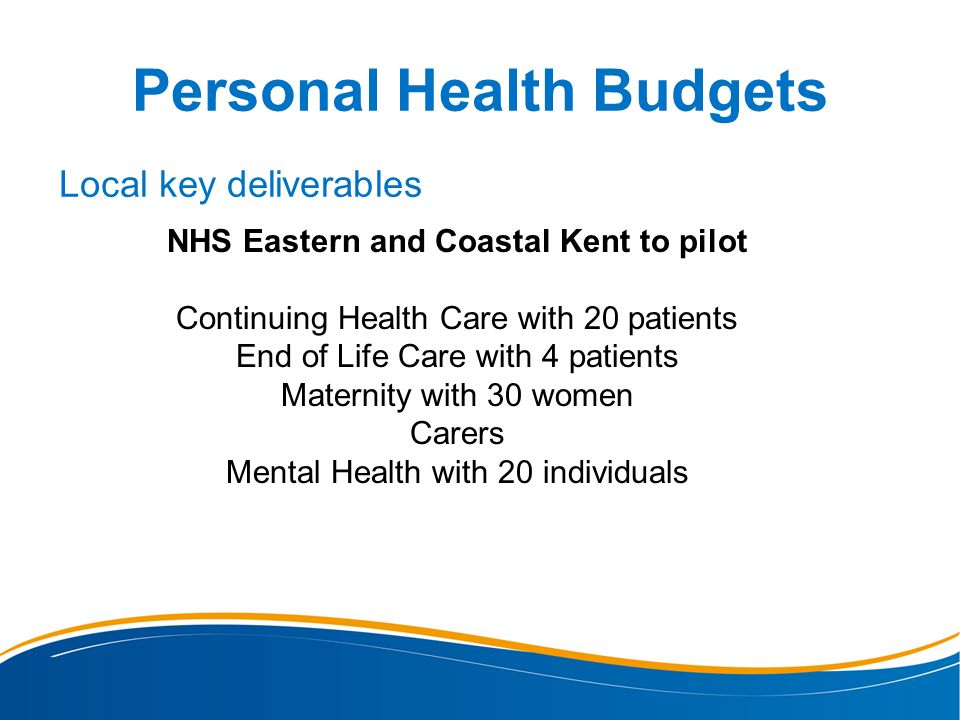 Personal Health Budgets Local key deliverables NHS Eastern and Coastal Kent to pilot Continuing Health Care with 20 patients End of Life Care with 4 p