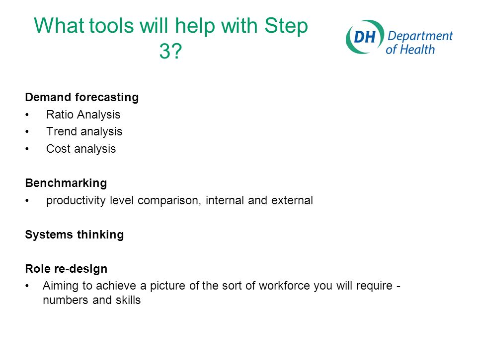 What tools will help with Step 3? Demand forecasting Ratio Analysis Trend analysis Cost analysis Benchmarking productivity level comparison, internal