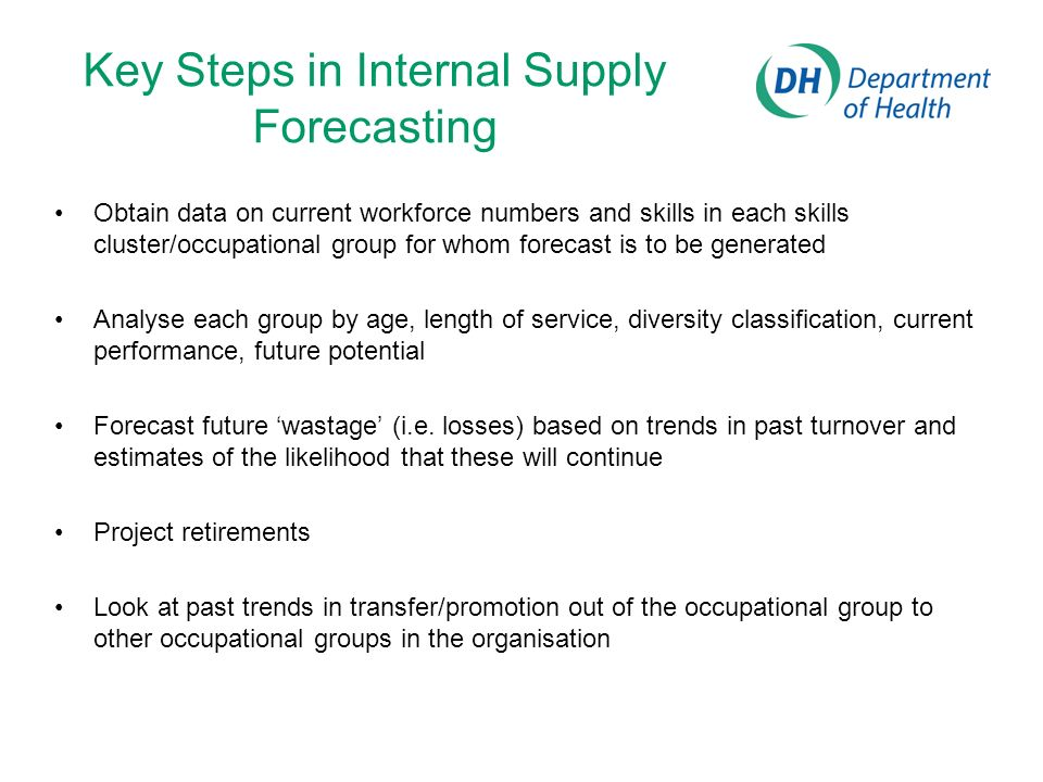 Key Steps in Internal Supply Forecasting Obtain data on current workforce numbers and skills in each skills cluster/occupational group for whom foreca