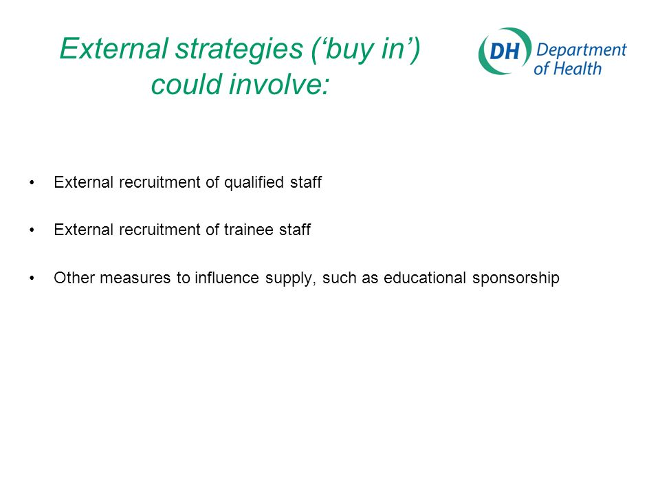 External strategies (buy in) could involve: External recruitment of qualified staff External recruitment of trainee staff Other measures to influence