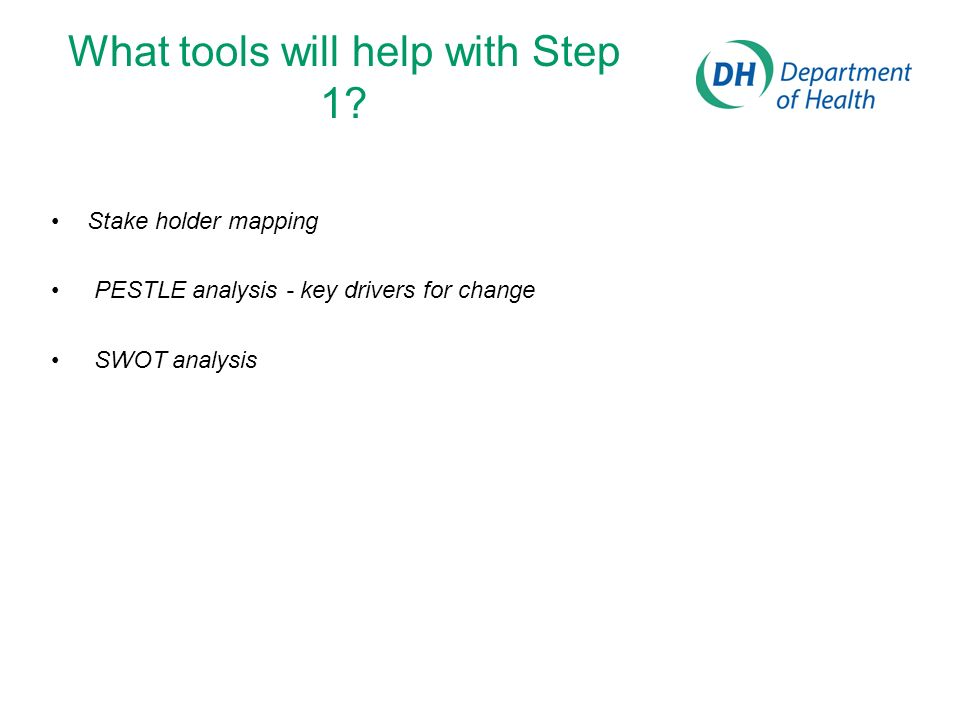 What tools will help with Step 1? Stake holder mapping PESTLE analysis - key drivers for change SWOT analysis