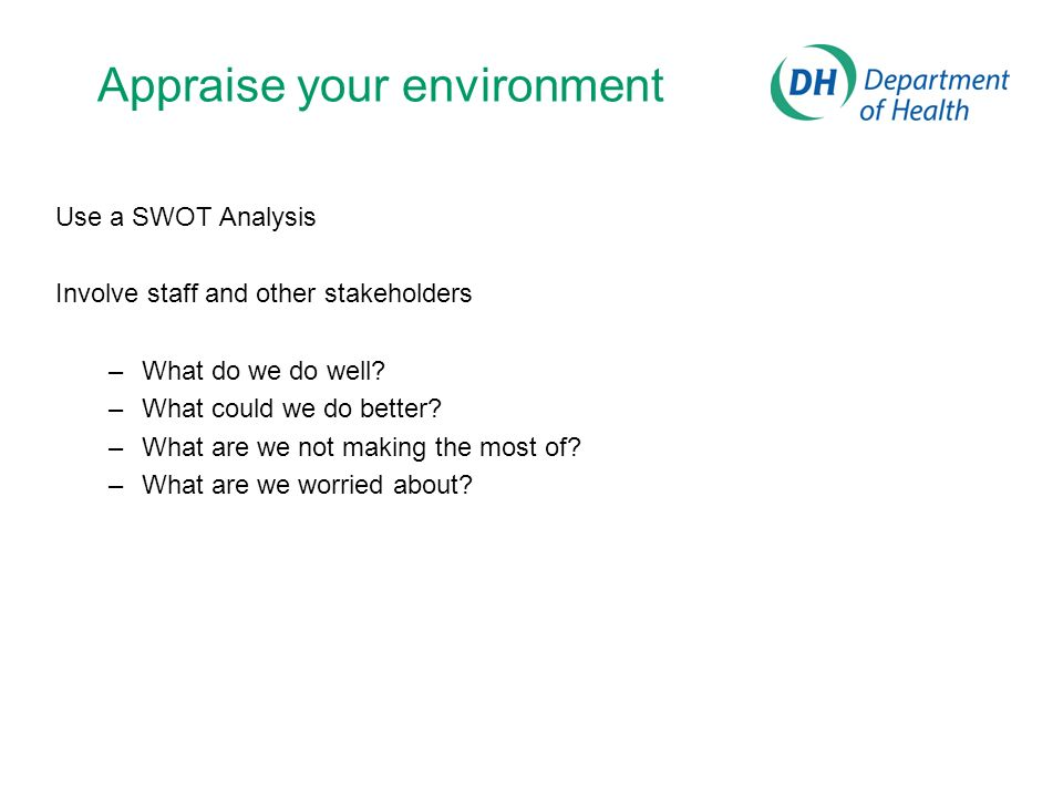 Appraise your environment Use a SWOT Analysis Involve staff and other stakeholders –What do we do well.