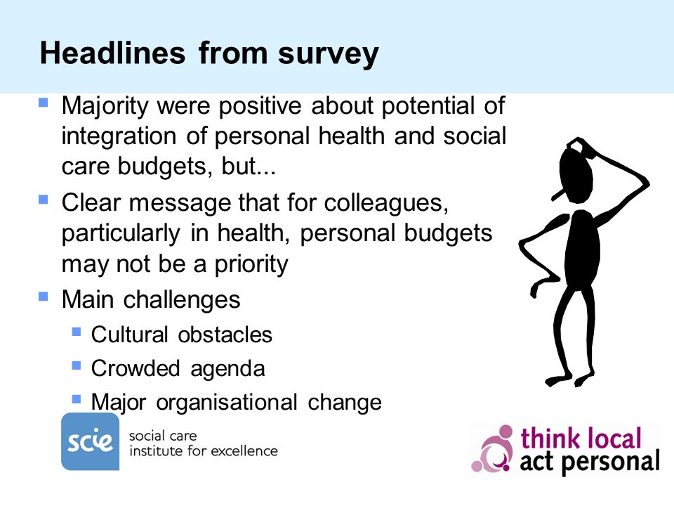 Headlines from survey Majority were positive about potential of integration of personal health and social care budgets, but...