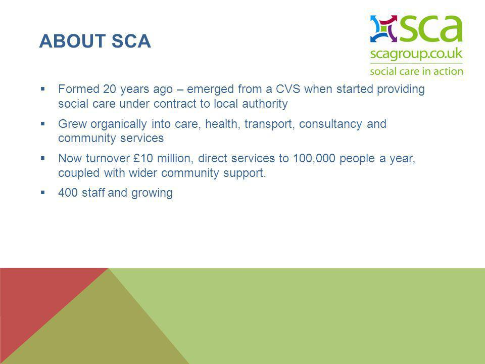 ABOUT SCA Formed 20 years ago – emerged from a CVS when started providing social care under contract to local authority Grew organically into care, health, transport, consultancy and community services Now turnover £10 million, direct services to 100,000 people a year, coupled with wider community support.