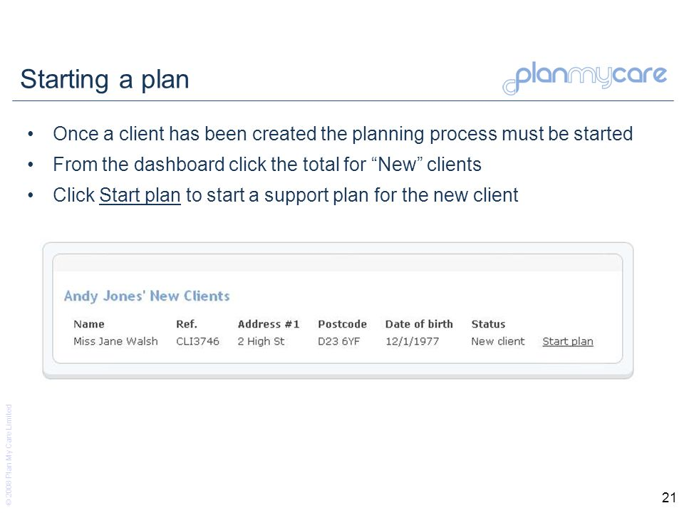 © 2008 Plan My Care Limited 21 Starting a plan Once a client has been created the planning process must be started From the dashboard click the total for New clients Click Start plan to start a support plan for the new client
