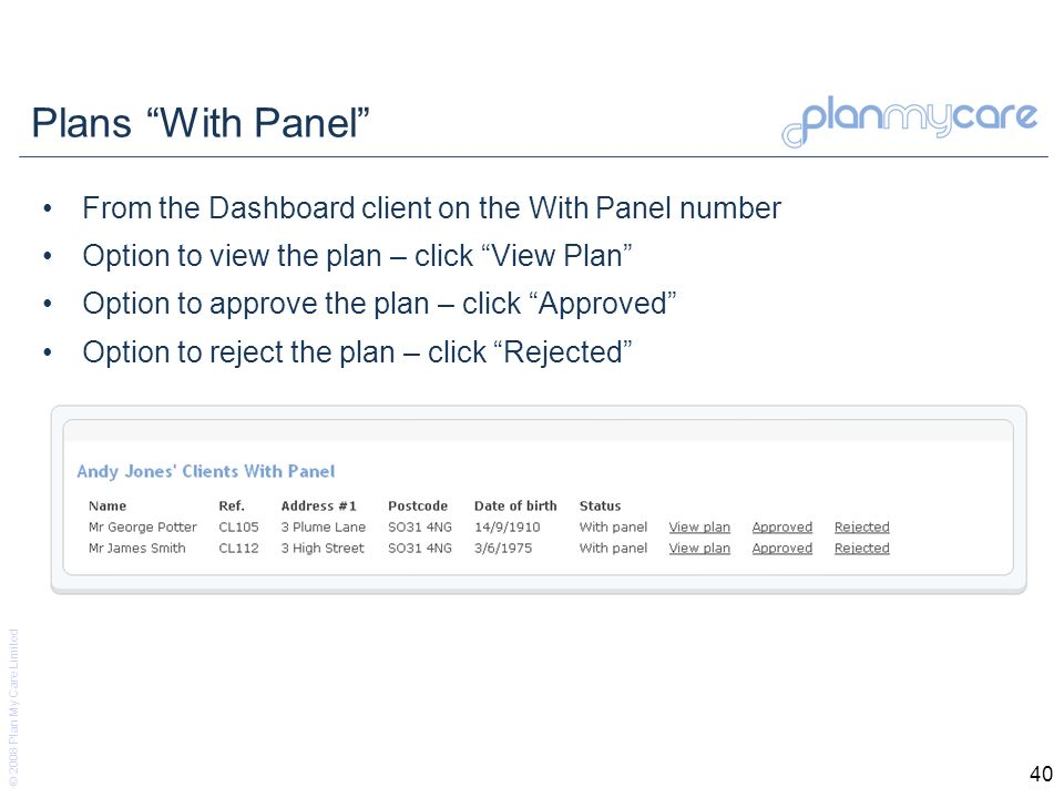 © 2008 Plan My Care Limited 40 Plans With Panel From the Dashboard client on the With Panel number Option to view the plan – click View Plan Option to approve the plan – click Approved Option to reject the plan – click Rejected
