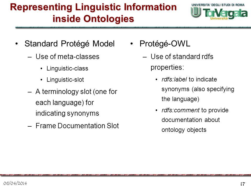 06/04/2014 17 Representing Linguistic Information inside Ontologies Standard Protégé Model –Use of meta-classes Linguistic-class Linguistic-slot –A te