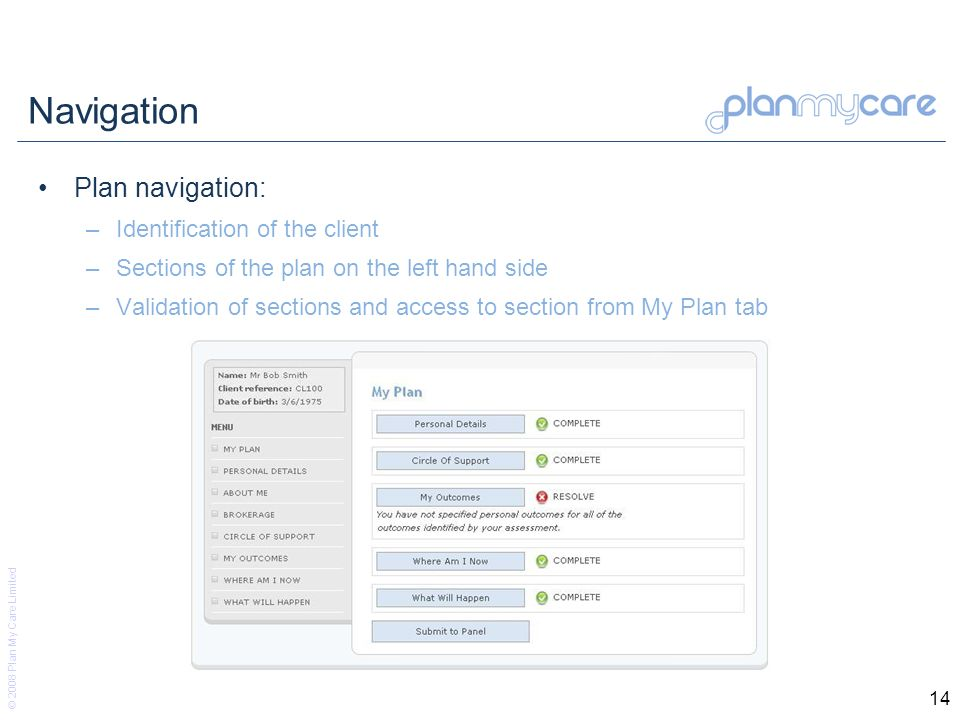 © 2008 Plan My Care Limited 14 Navigation Plan navigation: –Identification of the client –Sections of the plan on the left hand side –Validation of sections and access to section from My Plan tab