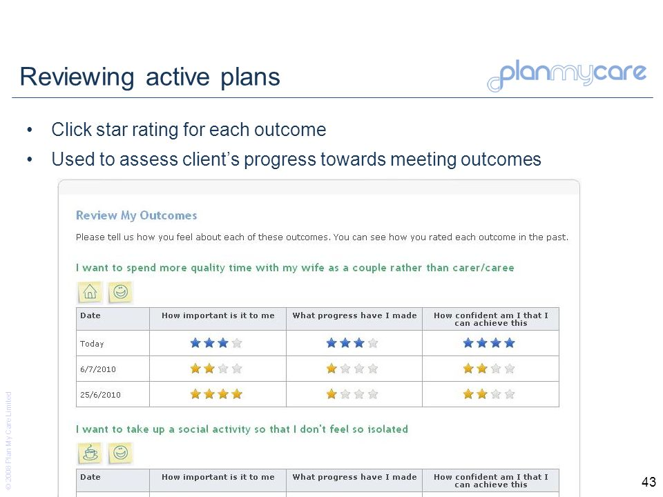 © 2008 Plan My Care Limited 43 Reviewing active plans Click star rating for each outcome Used to assess clients progress towards meeting outcomes