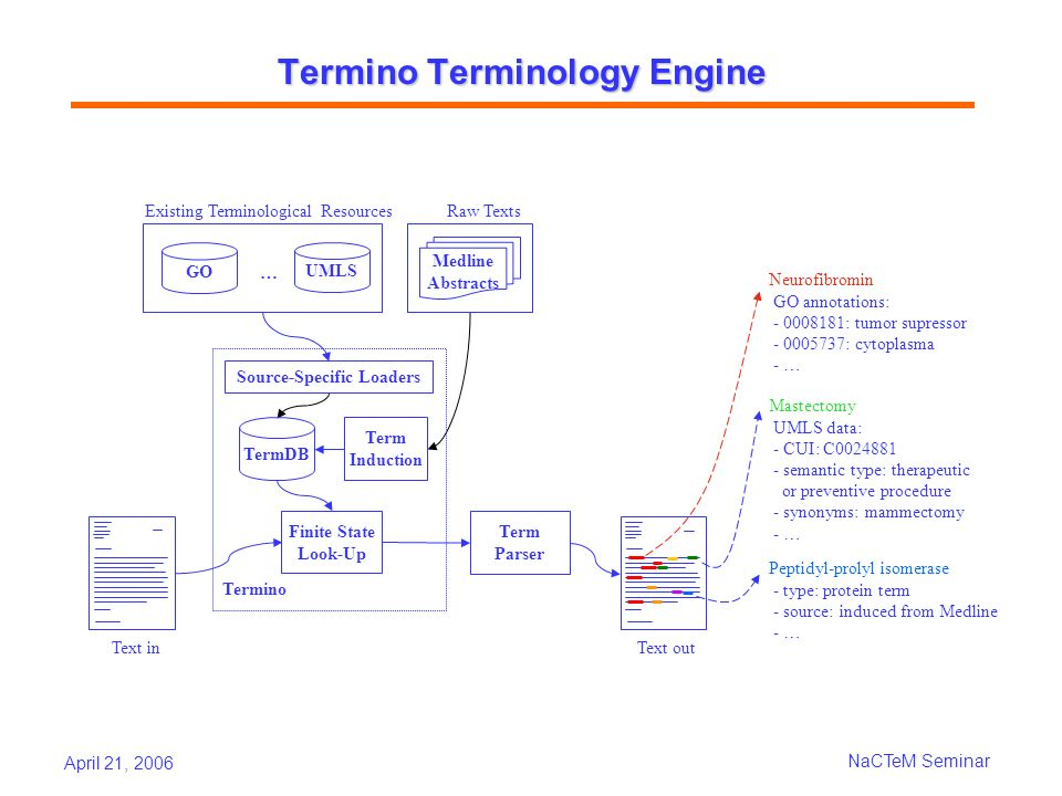 April 21, 2006 NaCTeM Seminar Termino Terminology Engine Text in Term Induction TermDB Finite State Look-Up Termino Medline Abstracts GO UMLS Raw Text