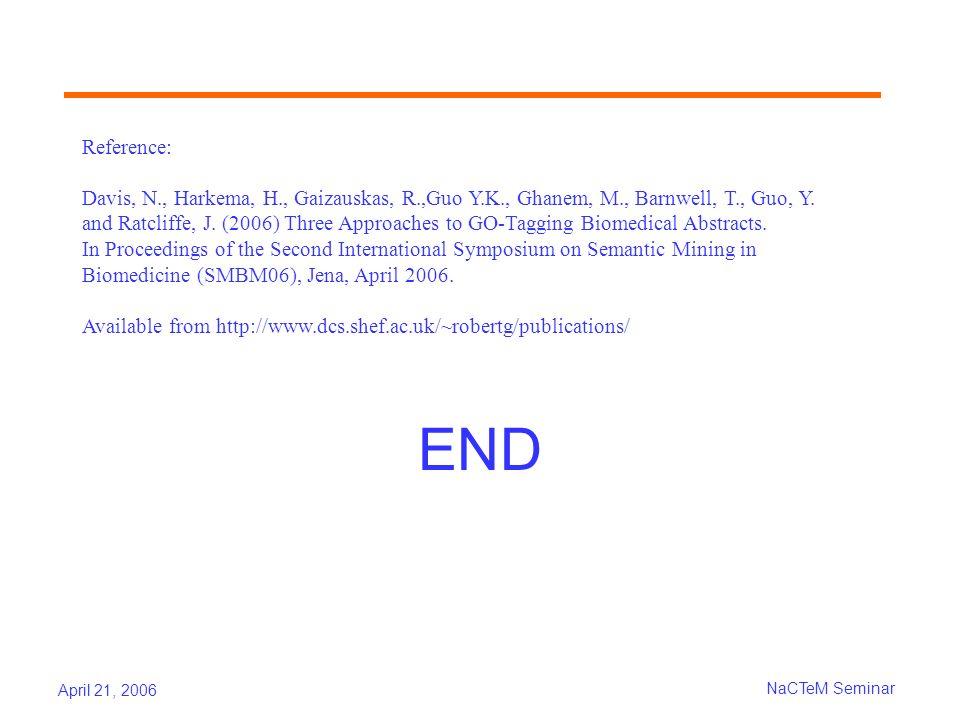 April 21, 2006 NaCTeM Seminar END Reference: Davis, N., Harkema, H., Gaizauskas, R.,Guo Y.K., Ghanem, M., Barnwell, T., Guo, Y.