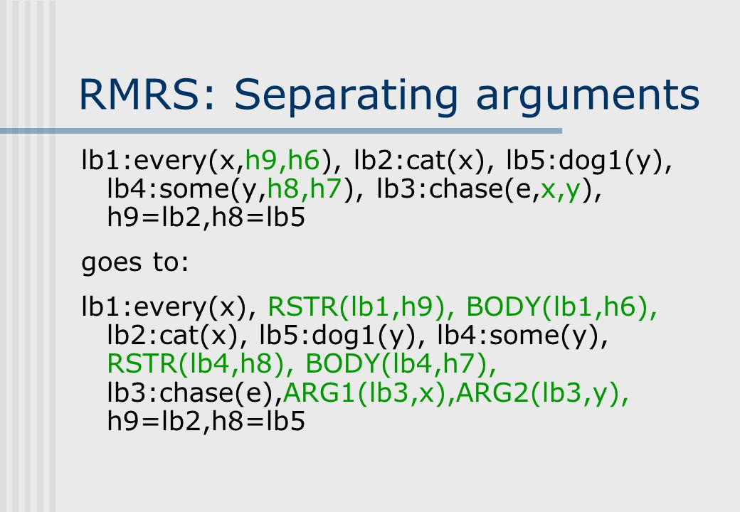 RMRS: Separating arguments lb1:every(x,h9,h6), lb2:cat(x), lb5:dog1(y), lb4:some(y,h8,h7), lb3:chase(e,x,y), h9=lb2,h8=lb5 goes to: lb1:every(x), RSTR(lb1,h9), BODY(lb1,h6), lb2:cat(x), lb5:dog1(y), lb4:some(y), RSTR(lb4,h8), BODY(lb4,h7), lb3:chase(e),ARG1(lb3,x),ARG2(lb3,y), h9=lb2,h8=lb5