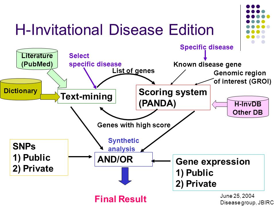 H-Invitational Disease Edition Text-mining Scoring system (PANDA) Known disease gene Genomic region of interest (GROI) List of genes Genes with high score SNPs 1)Public 2)Private Gene expression 1)Public 2)Private AND/OR Final Result H-InvDB Other DB Literature (PubMed) Dictionary Specific disease Select specific disease June 25, 2004 Disease group, JBIRC Synthetic analysis