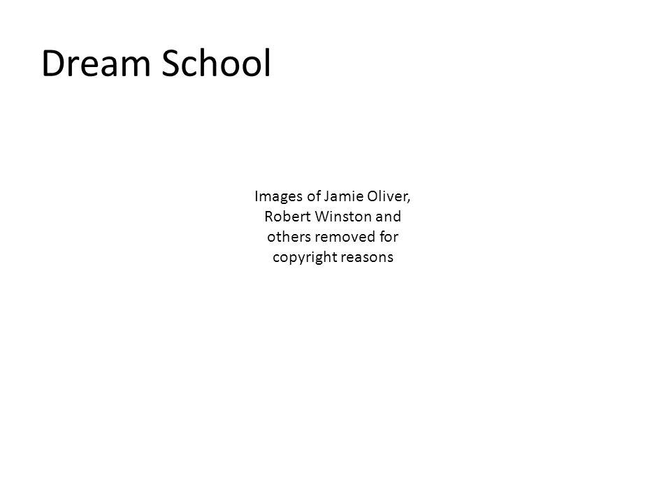 Dream School Images of Jamie Oliver, Robert Winston and others removed for copyright reasons