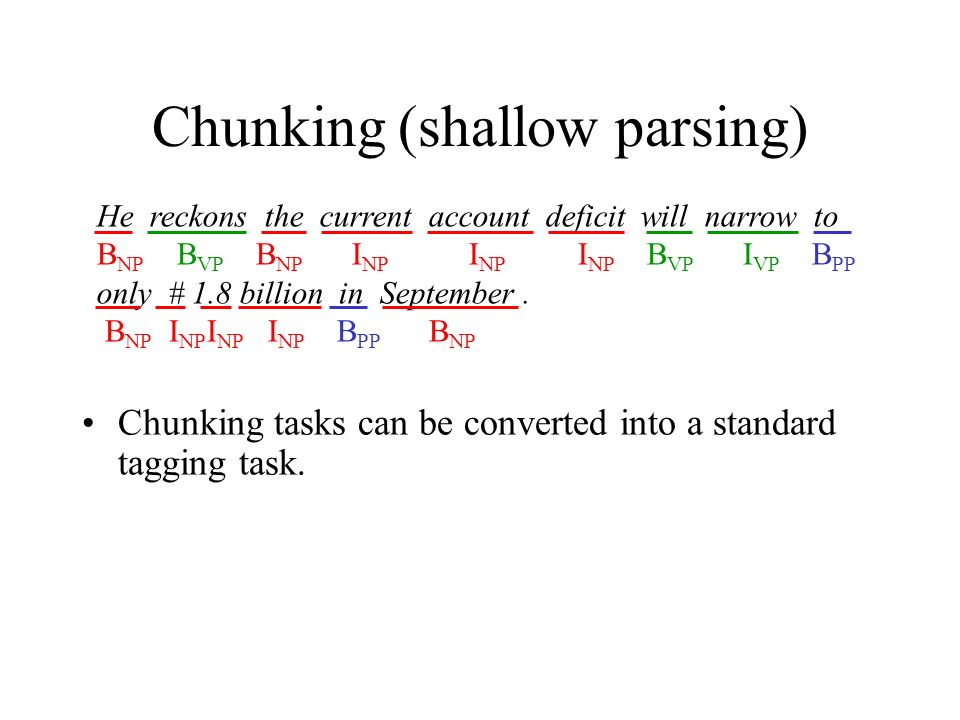 Chunking (shallow parsing) Chunking tasks can be converted into a standard tagging task.
