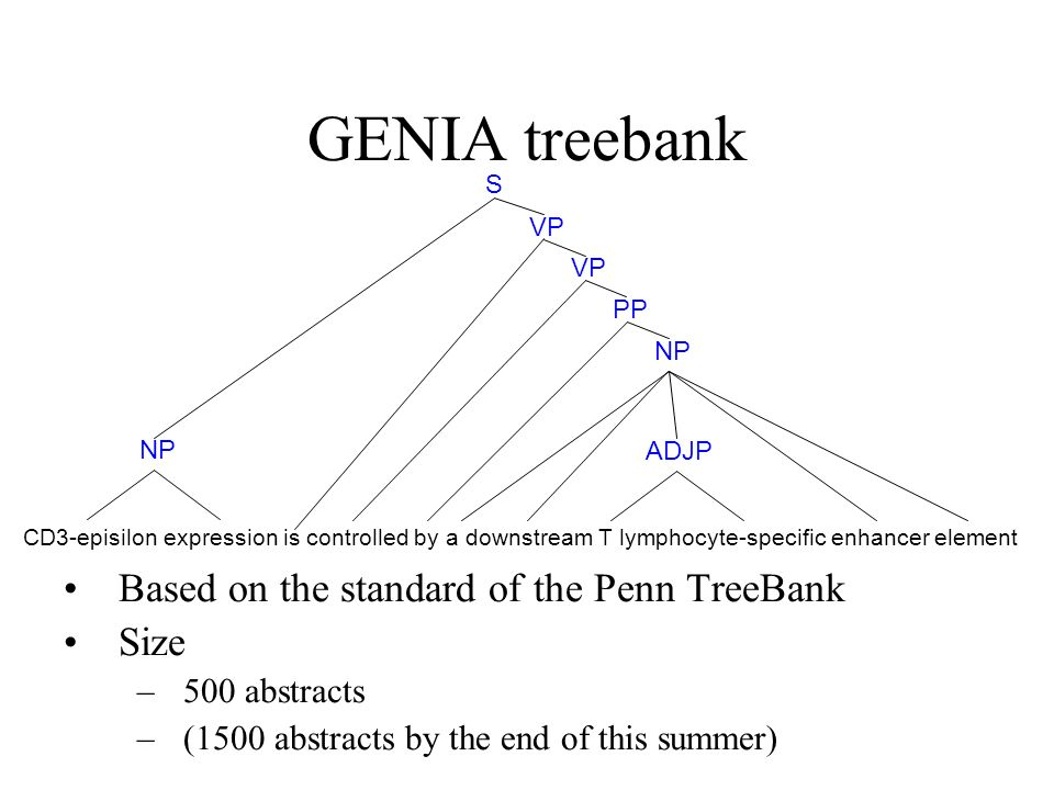 GENIA treebank Based on the standard of the Penn TreeBank Size –500 abstracts –(1500 abstracts by the end of this summer) CD3-episilon expression is controlled by a downstream T lymphocyte-specific enhancer element NP ADJP NP PP VP S