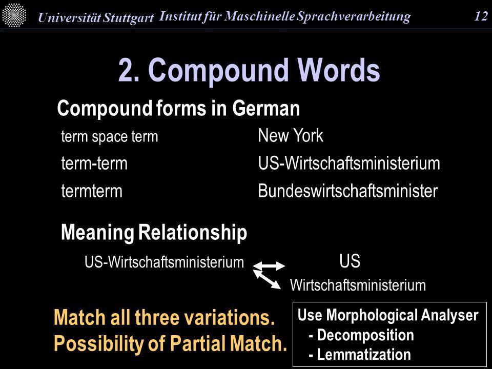 2. Compound Words term space term New York term-term US-Wirtschaftsministerium termtermBundeswirtschaftsminister Compound forms in German Match all th