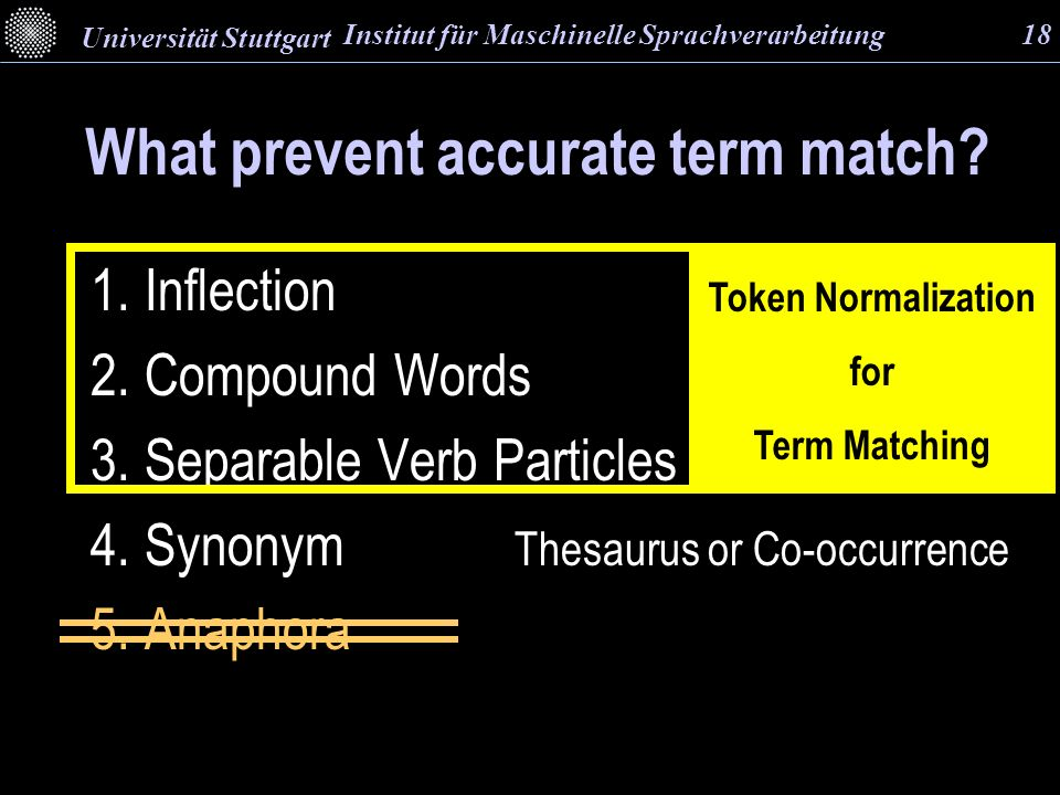 What prevent accurate term match. 1. Inflection-- Dictionary IMSLes 2.