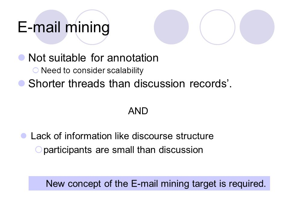 E-mail mining Not suitable for annotation Need to consider scalability Shorter threads than discussion records.