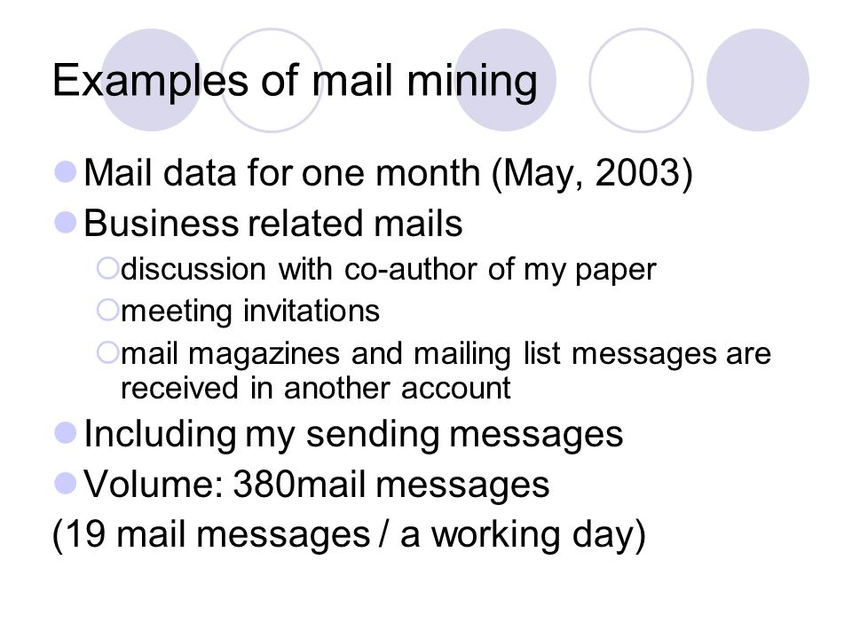 Examples of mail mining Mail data for one month (May, 2003) Business related mails discussion with co-author of my paper meeting invitations mail magazines and mailing list messages are received in another account Including my sending messages Volume: 380mail messages (19 mail messages / a working day)