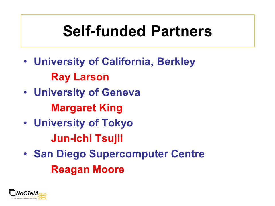 Self-funded Partners University of California, Berkley Ray Larson University of Geneva Margaret King University of Tokyo Jun-ichi Tsujii San Diego Supercomputer Centre Reagan Moore