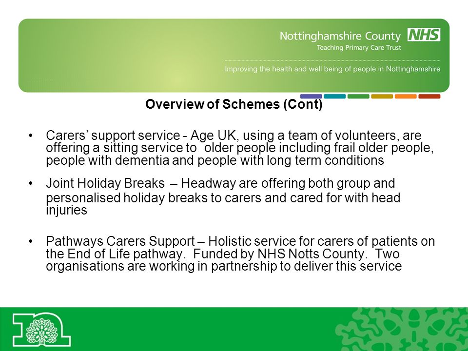 Overview of Schemes (Cont) Carers support service - Age UK, using a team of volunteers, are offering a sitting service to older people including frail older people, people with dementia and people with long term conditions Joint Holiday Breaks – Headway are offering both group and personalised holiday breaks to carers and cared for with head injuries Pathways Carers Support – Holistic service for carers of patients on the End of Life pathway.