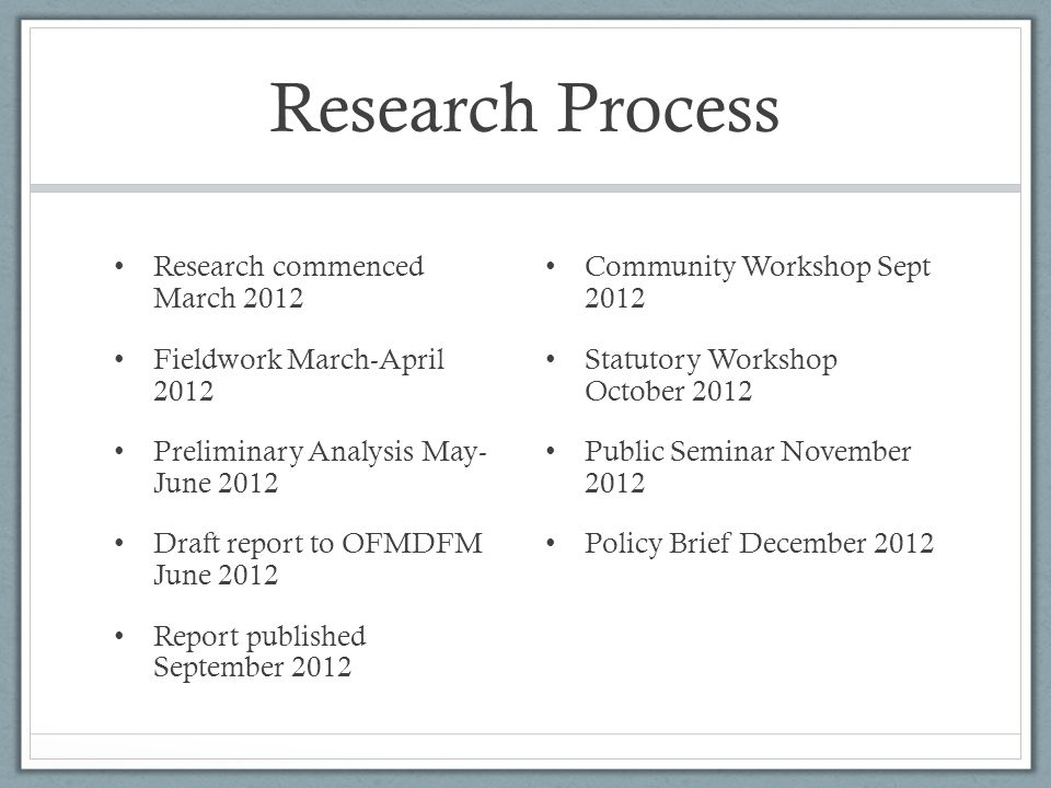 Research Process Research commenced March 2012 Fieldwork March-April 2012 Preliminary Analysis May- June 2012 Draft report to OFMDFM June 2012 Report published September 2012 Community Workshop Sept 2012 Statutory Workshop October 2012 Public Seminar November 2012 Policy Brief December 2012