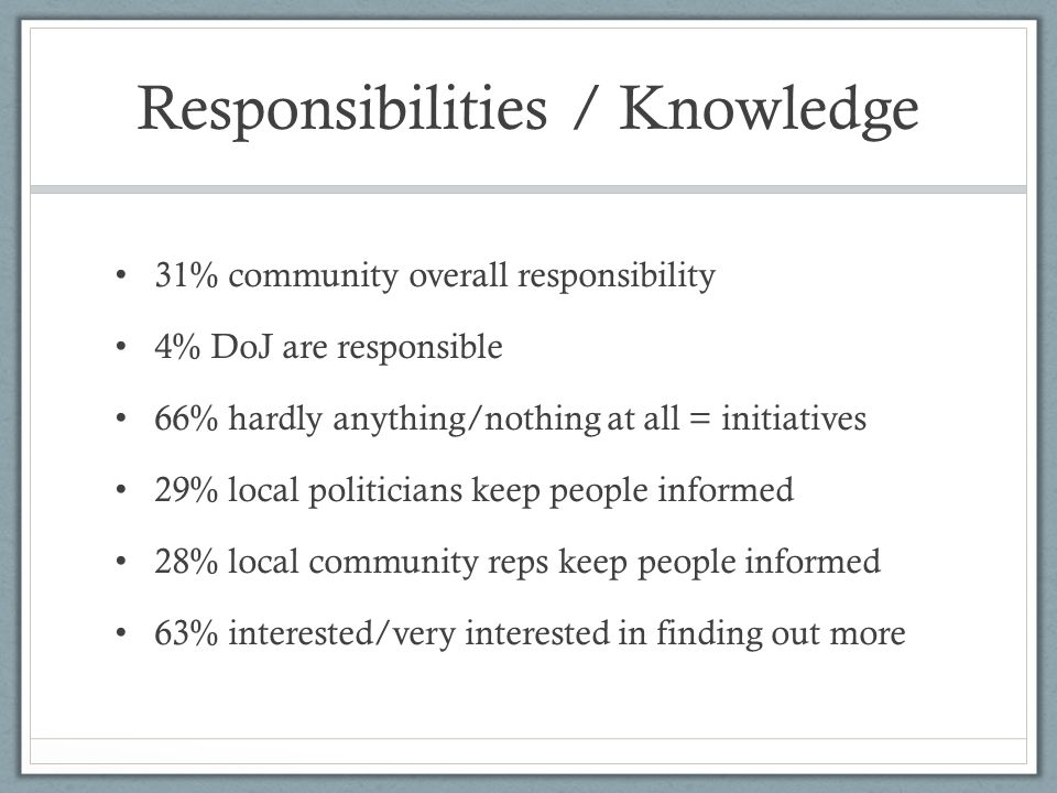 Responsibilities / Knowledge 31% community overall responsibility 4% DoJ are responsible 66% hardly anything/nothing at all = initiatives 29% local politicians keep people informed 28% local community reps keep people informed 63% interested/very interested in finding out more
