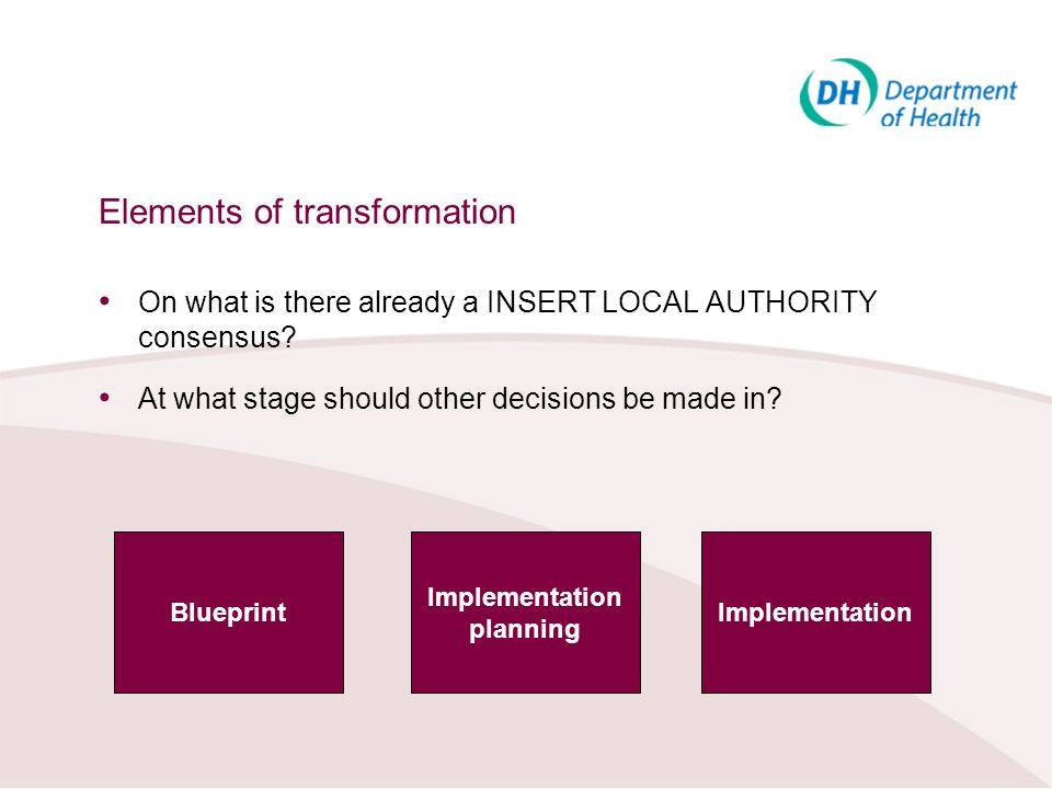 Elements of transformation On what is there already a INSERT LOCAL AUTHORITY consensus? At what stage should other decisions be made in? Blueprint Imp