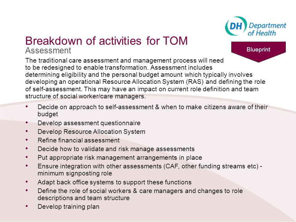 Breakdown of activities for TOM Assessment The traditional care assessment and management process will need to be redesigned to enable transformation.