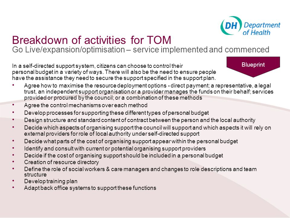 Breakdown of activities for TOM Go Live/expansion/optimisation – service implemented and commenced In a self-directed support system, citizens can cho
