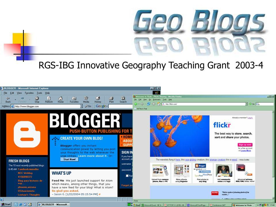 RGS-IBG Innovative Geography Teaching Grant 2003-4