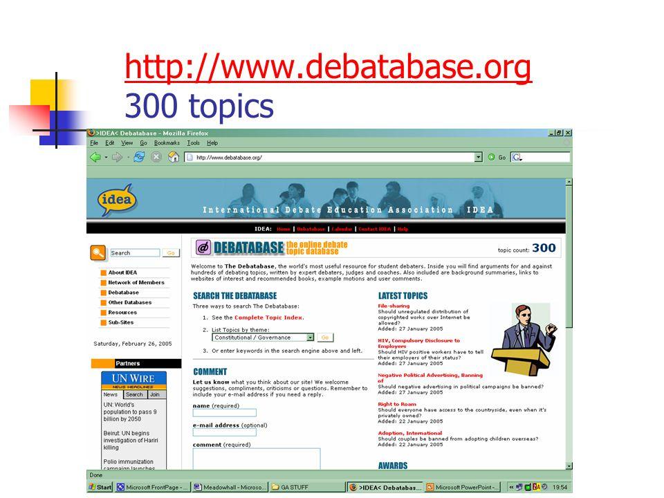 http://www.debatabase.org http://www.debatabase.org 300 topics