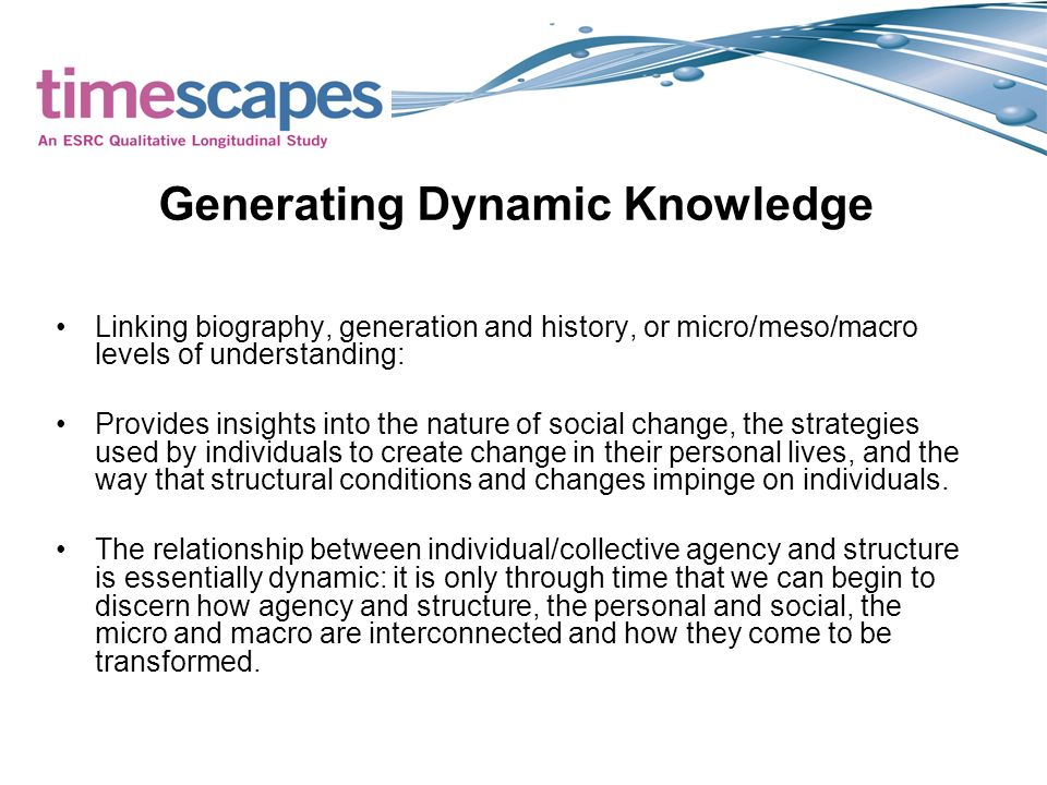 Generating Dynamic Knowledge Linking biography, generation and history, or micro/meso/macro levels of understanding: Provides insights into the nature of social change, the strategies used by individuals to create change in their personal lives, and the way that structural conditions and changes impinge on individuals.