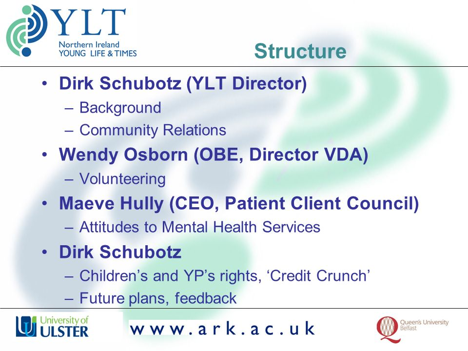 Structure Dirk Schubotz (YLT Director) –Background –Community Relations Wendy Osborn (OBE, Director VDA) –Volunteering Maeve Hully (CEO, Patient Client Council) –Attitudes to Mental Health Services Dirk Schubotz –Childrens and YPs rights, Credit Crunch –Future plans, feedback