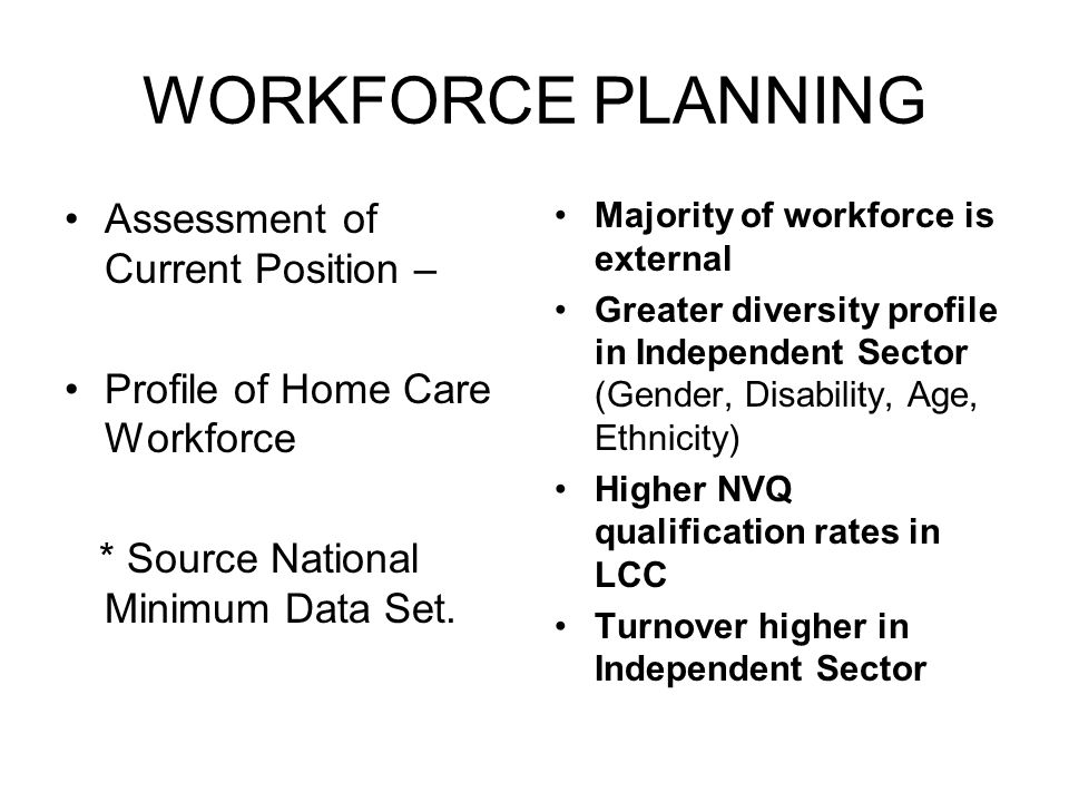 WORKFORCE PLANNING Assessment of Current Position – Profile of Home Care Workforce * Source National Minimum Data Set.