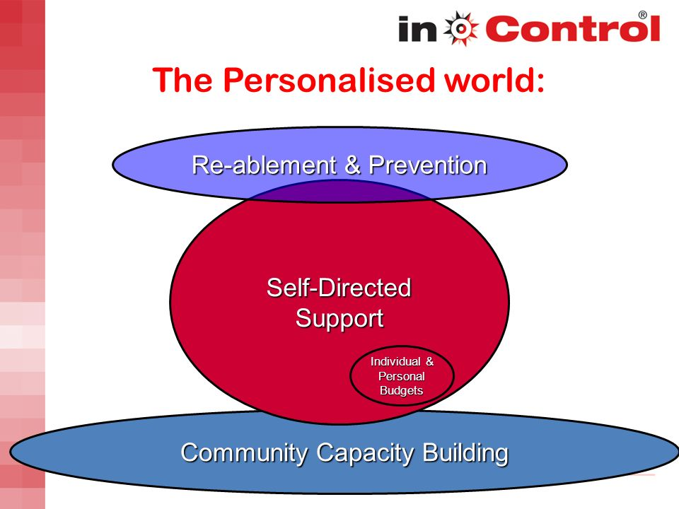 Community Capacity Building Self-Directed Support Re-ablement & Prevention The Personalised world: Individual & Personal Budgets
