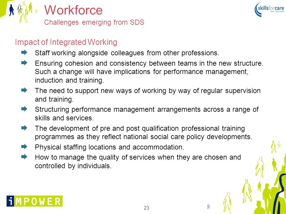 23 Workforce Challenges emerging from SDS Impact of Integrated Working Staff working alongside colleagues from other professions. Ensuring cohesion an