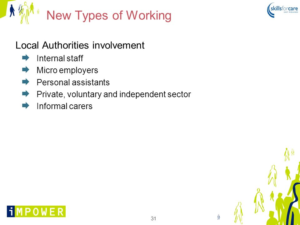 31 New Types of Working Local Authorities involvement Internal staff Micro employers Personal assistants Private, voluntary and independent sector Inf