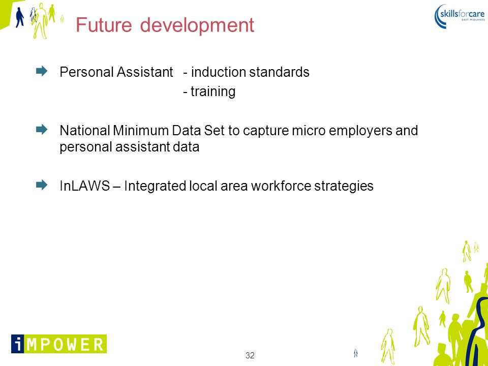 32 Future development Personal Assistant - induction standards - training National Minimum Data Set to capture micro employers and personal assistant