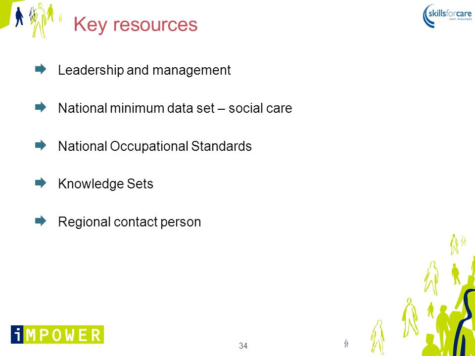 34 Key resources Leadership and management National minimum data set – social care National Occupational Standards Knowledge Sets Regional contact per