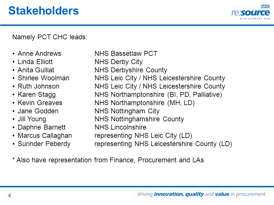 4 Stakeholders Namely PCT CHC leads: Anne Andrews NHS Bassetlaw PCT Linda Elliott NHS Derby City Anita Gulliat NHS Derbyshire County Shirlee Woolman NHS Leic City / NHS Leicestershire County Ruth Johnson NHS Leic City / NHS Leicestershire County Karen Stagg NHS Northamptonshire (BI, PD, Palliative) Kevin Greaves NHS Northamptonshire (MH, LD) Jane Godden NHS Nottingham City Jill Young NHS Nottinghamshire County Daphne BarnettNHS Lincolnshire Marcus Callaghanrepresenting NHS Leic City (LD) Surinder Peberdyrepresenting NHS Leicestershire County (LD) * Also have representation from Finance, Procurement and LAs