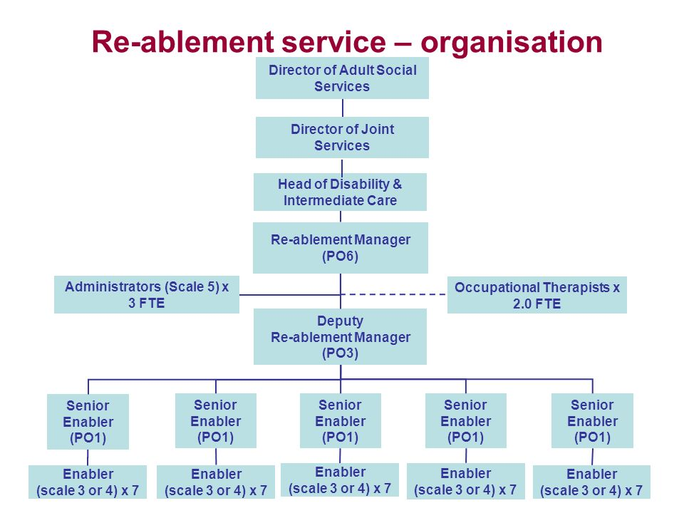Re-ablement service – organisation structure Deputy Re-ablement Manager (PO3) Senior Enabler (PO1) Enabler (scale 3 or 4) x 7 Occupational Therapists